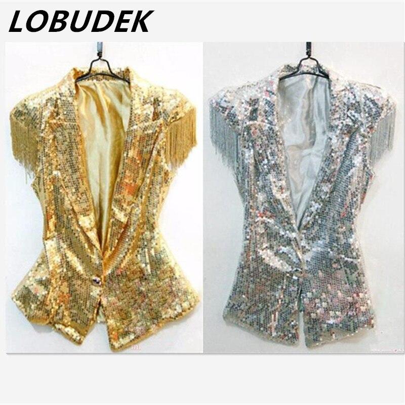Female Male Silver Gold Sequins Vest Jacket Fashion Singer Performance Ds Lead Dancer Clothing  Tassel Jazz Dancer Costume Top