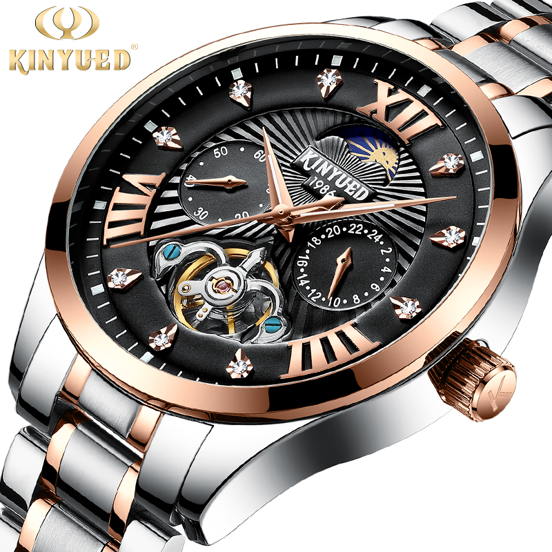 KINYUED 2018 Mechanical Watch Luminous Stainless Steel Men Automatic Skeleton Tourbillon Watch Top Brand Luxury Montre Homme kinyued top brand luxury mens watches automatic mechanical watch men tourbillon skeleton business sport wristwatch montre homme
