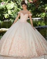 Detmgel Sexy Boat Neck Beaded Flowers Ball Gown Quinceanera Dresses 2019 Luxury Appliques Debutante Dress for Vestido de 15 anos