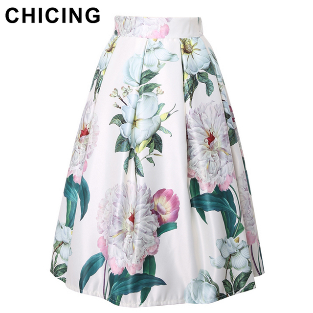 62c07724a7 CHICING Floral Print Knee-Length Skirt Fashion 2016 Blue White Vintage Ball  Gown Pleated High
