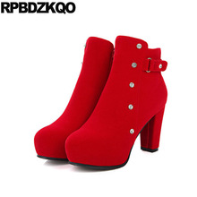 RPBDZKQO Bridal Ankle Side Zip Boots Red Winter High Heel. US  67.66   Pair Free  Shipping ce365d65bdc1