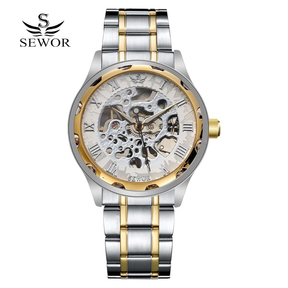Sewor Brand Sport Watch Men Luxury Skeleton Stainless ...