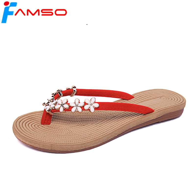 FAMSO 2018 New Fashion Women Slides black green red Flowers Shoes Flip Flops Summer Platforms Shoes Outside Sandals 2016 spring and summer free shipping red new fashion design shoes african women print rt 3
