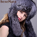 Winter Women Fur Cap Real Fox Fur Hats Headgear Russian Outdoor Girls hats with long Earflap Warm caps