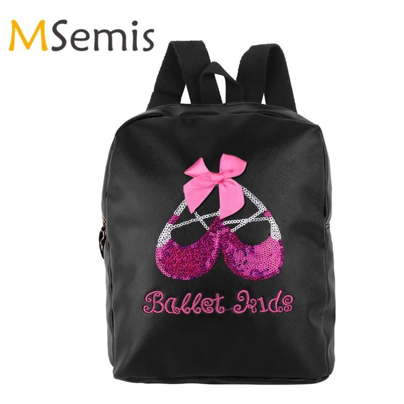 Obliging Kids Girls Ballet Bag Lovely Dance Bag Children Student School Backpack Fashion Shiny Sequins Toe Shoes Embroidered Shoulder Bag Possessing Chinese Flavors