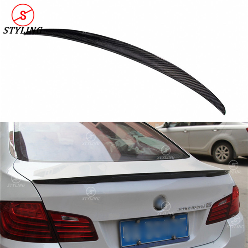 цена на For BMW F10 Carbon Spoiler P Style Sedan F10 523i 520d 525d & F10 M5 Carbon Fiber rear spoiler Rear trunk wing styling 2010 - UP