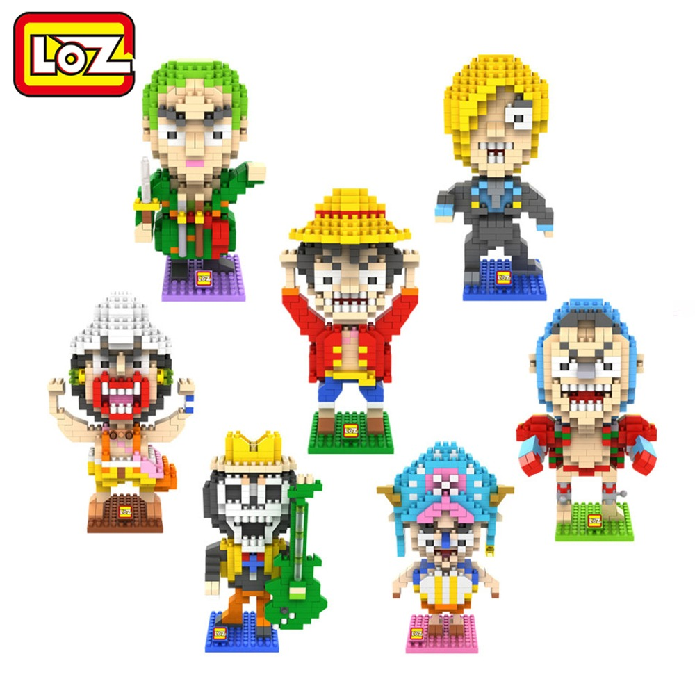 Ormino LOZ One Piece Series Building Blocks Luffy Chopper Sanji Brook Usopp Zoro Franky Thousand Sunny Going Merry Action Figure new japanese anime one piece brook shirahosh luffy franky robin zoro pvc action figure 6pcs set for christmas gifts free shiping