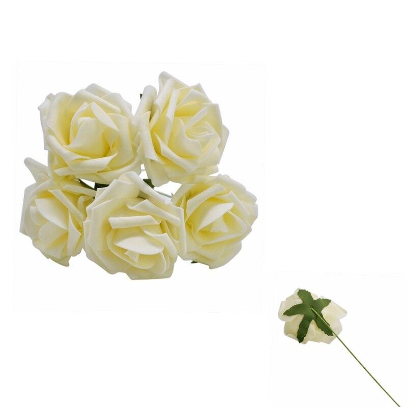 10 шт. 8 см большие ПЭ пенные цветы искусственные розы цветы Свадебные букеты Свадебные украшения для вечеринки DIY Скрапбукинг Ремесло поддельные цветы - Цвет: Champagne