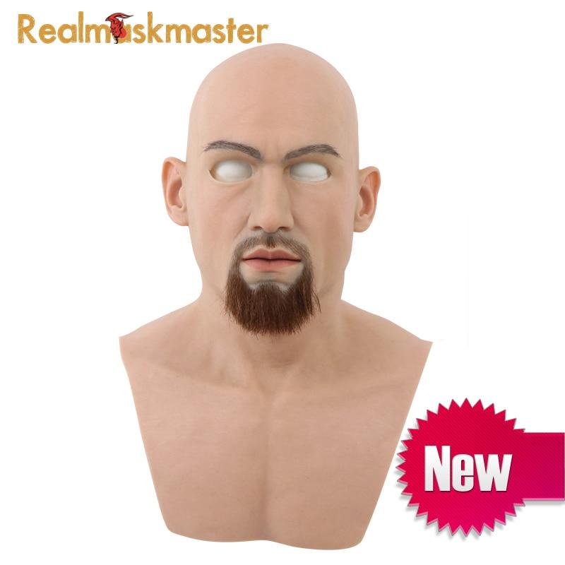 Realmaskmaster adulte latex réaliste mascarade masque en silicone pour homme visage complet fête vraie peau fête masques fétiche