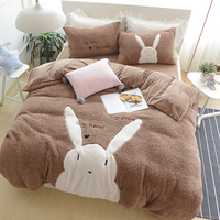 Cartoon bear rabbit style Cashmere bedding set thick duvet cover 4pcs pink winter warm comforter sets