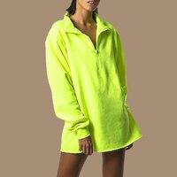 Neon Green Hoodie Harajuku Punk Streetwear Poleron Mujer 2019 Plain Hoodies Women Fluorescent Sweatshirt Half Zip Hoodie Solid