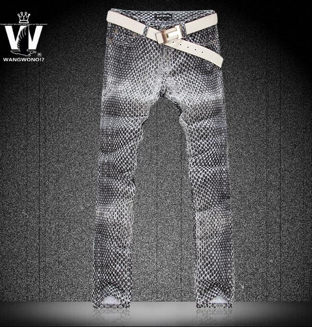 ФОТО Summer fashion grey snakeskin pattern painting england jeans men pant man denim trousers personalized street famous brand