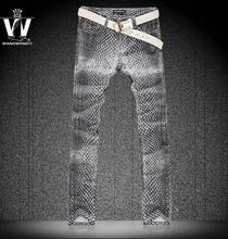 Summer fashion grey snakeskin pattern painting england jeans men pant man denim trousers personalized street famous brand
