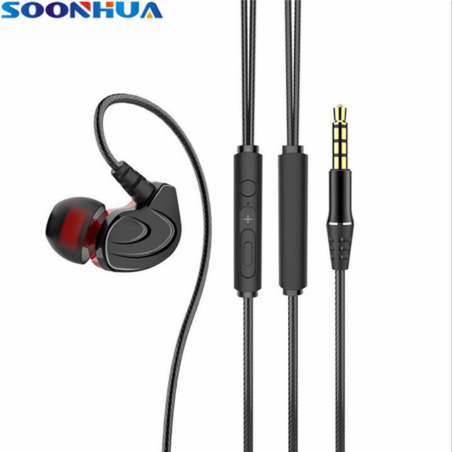 8868dd157bf SOONHUA Sport Headphones With Mic 3.5mm In-Ear Wired Earphone Earbuds Dual  Dynamic Driver Headphones Universal for Xiaomi iPhone