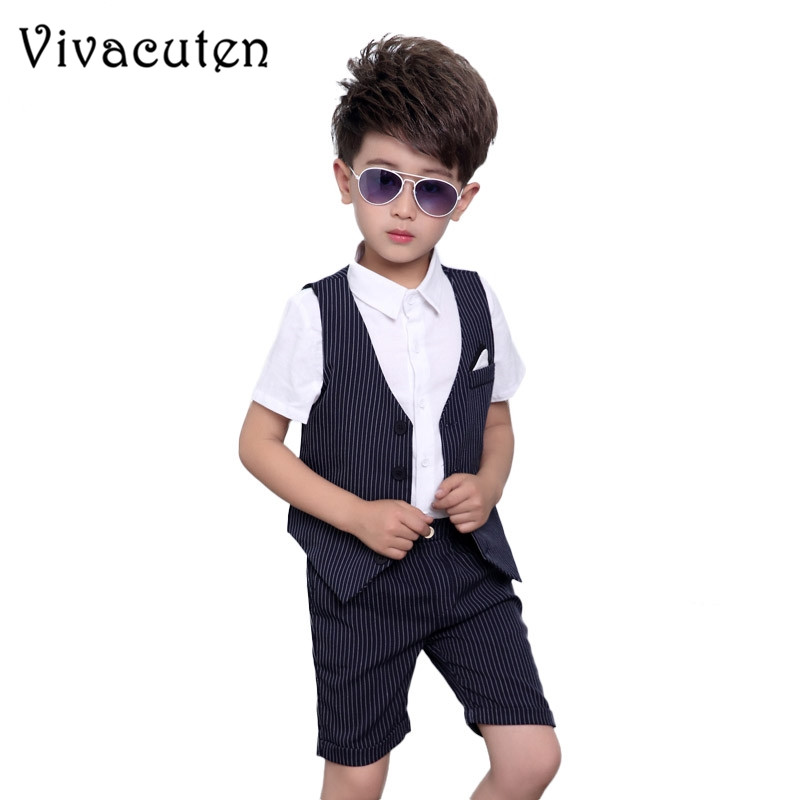 Summer Boys Clothing Set Children Tuxedos Wedding Dress Formal Suit Waistcoat Vest Shirt Shorts 3pcs Gentleman Kids Clothes F057 gentleman kids sets 2018 fashion boys vest shirt pants 3pcs kids wedding party clothing ceremony children set formal suit f051