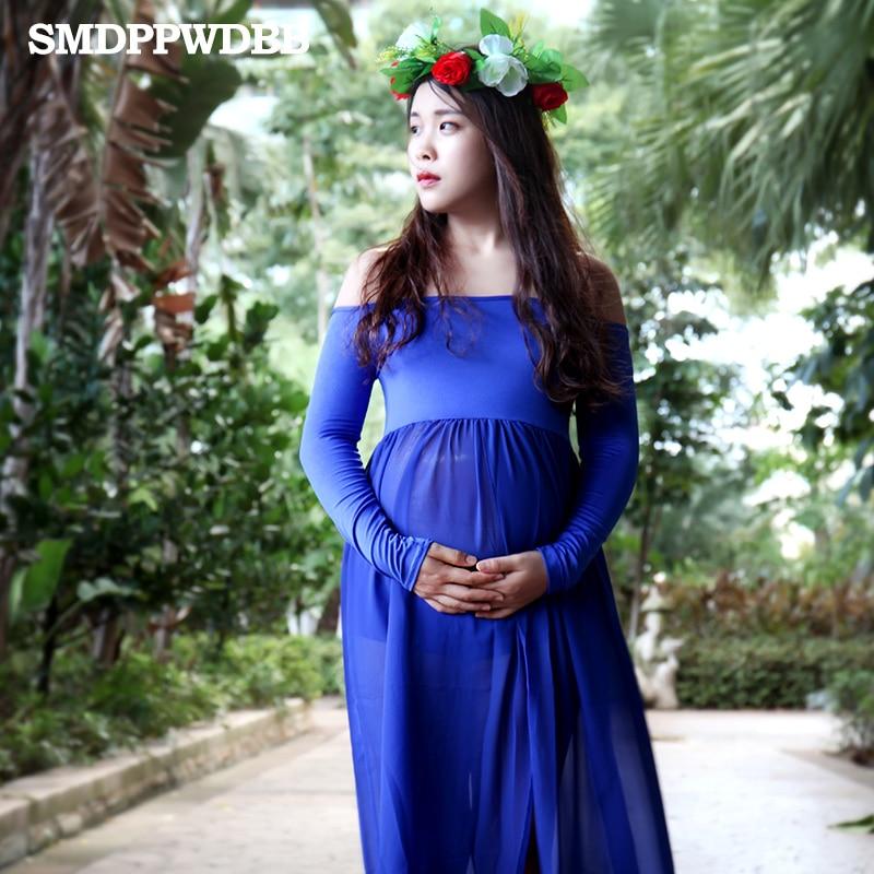 SMDPPWDBB Maternity Dresses Maternity Photography Props Blue Front Split Chiffon Pregnancy Dresses Maternity Plus Size Dresses plus size hit color stripe chiffon jacket
