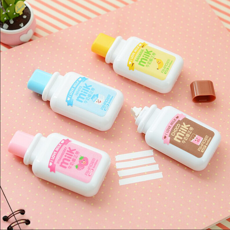 12 Pcs/Lot Milk Bottle Correction Tapes Kawaii Stationery Office Accessories School Supply Material Escolar Papeleria