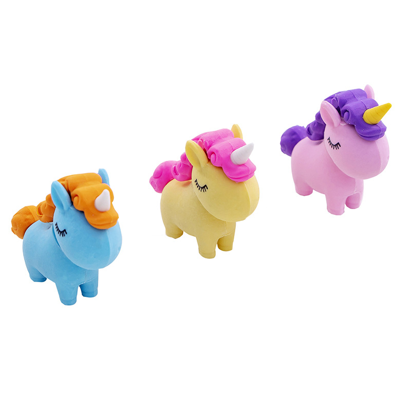 Image 5 - 60 pcs/pack Slightly Fat Unicorn Eraser Rubber Eraser Primary Student Prizes Promotional Gift StationeryEraser   -