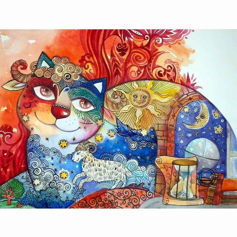 CHUNXIA Framed DIY Painting By Numbers Colorful Cat Acrylic Painting Modern Picture Home Decor For Living Room 40x50cm RA3460
