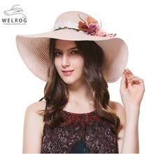 WELROG 2018 verano Sunhat flor sombreros de las mujeres para la boda sombrero  de paja Retro manera del sombrero del sol Playa Gr.. 9960fde8578