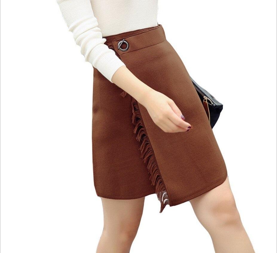 Cintura Falda Mini Borla A Invierno Orange Mujeres line naranja Negro Para Sexy Negro Faldas marrón Con Las Caliente Alta Estiramiento Gtgyff Flecos Cuello Otoño XwPxIqIf
