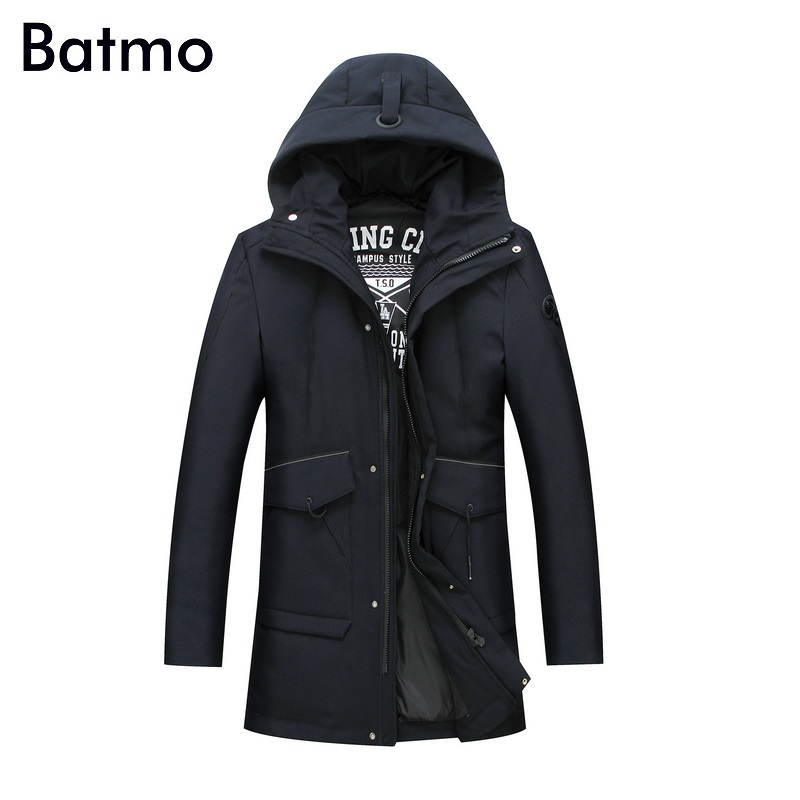 Batmo 2017 new arrival winter high quality white duck down casual black hooded jacket men,winter mens coat plus-size L-7XL 9988