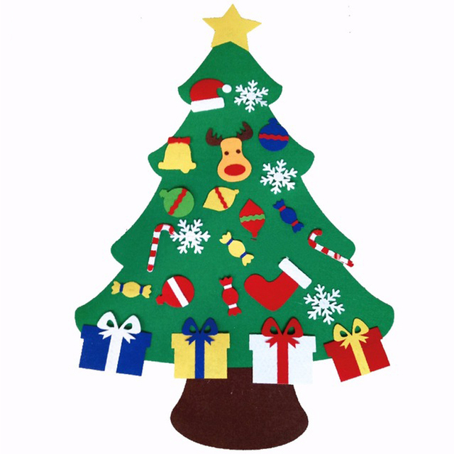 High Quality Kids DIY Felt Christmas Tree With Ornaments Children Gift Door Wall Hanging Xmas Decoration