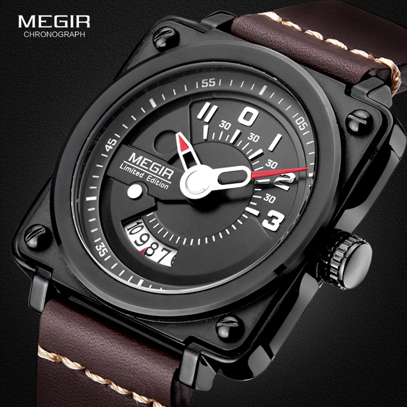 Megir Men's Square Analog Dial Leather Strap Waterproof Quartz Wrist Watches With Calendar Date 2040