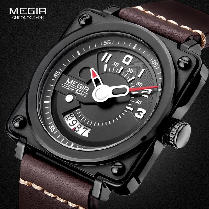 Megir Mäns Square Analog Dial Läder Rem Vattentät Quartz Armbandsur med kalenderdatum 2040