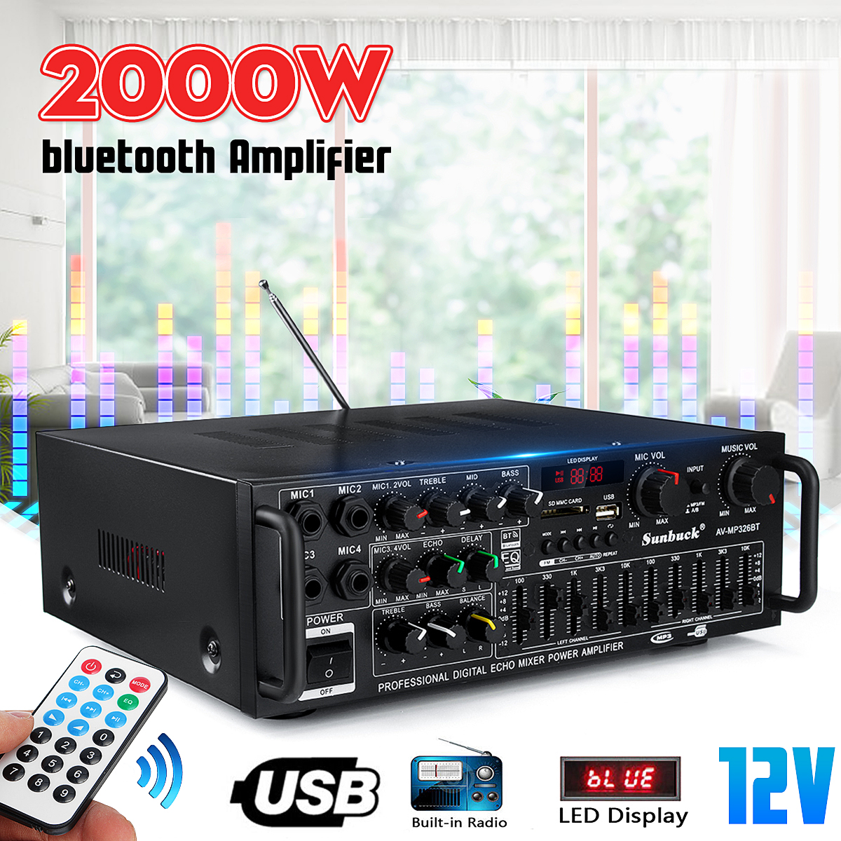 2000W 110V 220V 2 Channel Equalizer bluetooth Home Stereo