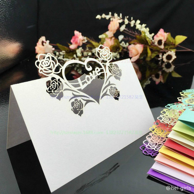 50pcslot hollow wedding invitations 2016 laser table name card 50pcslot hollow wedding invitations 2016 laser table name card wedding decoration for supplies business junglespirit Gallery
