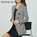 2016  New Fashion  Women Slim Black And White Plaid Casual Blazer Plus Size Office Wear Blazers Free Shipping A114