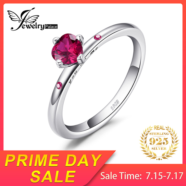 Sterling Silver Ruby Solitaire Ring