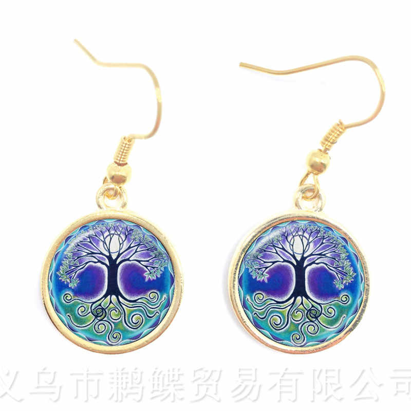 New Glass Cabochon Drop Earrings Jewelry Yin yang Skulls Witchcraft Fashion Gifts Colourful Flowers Mix Art Picture Jewellery