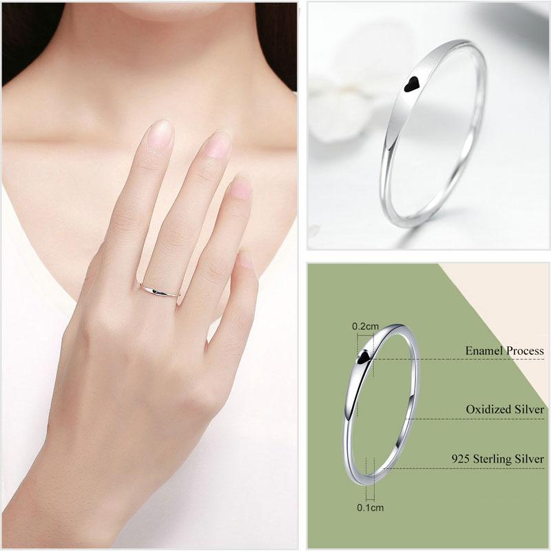 925 Sterling Silber Ringe für Frauen Zirkon 925 Silber Einfache - Modeschmuck - Foto 3