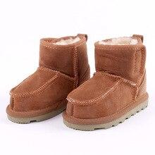 1ea1544b2 Botas de nieve para niños y niñas niños nieve botas de piel de oveja Real  zapatos