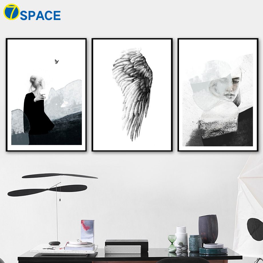 Abstract Girl Wing Quotes Nordic Posters And Prints Wall Art Canvas Painting Decoration Pictures For Living Room Pop Art Decor in Painting Calligraphy from Home Garden