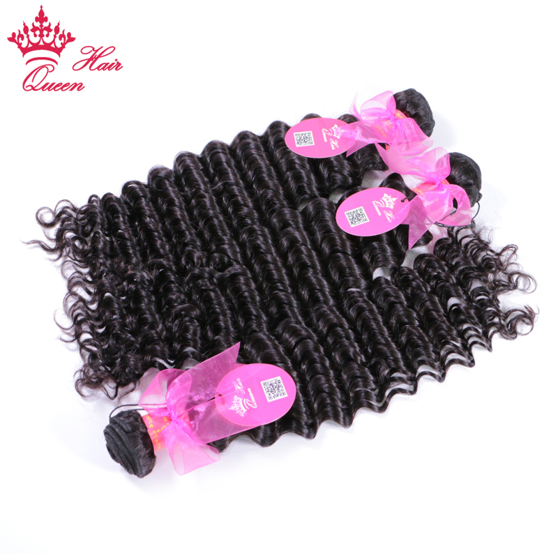 Queen Hair Products Brazilian Deep Wave 4 Bundles with Lace Closure Remy Human Hair Weave Bundles With Closure Free Shipping