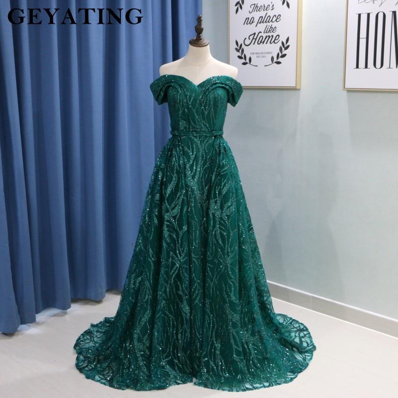 Dark Green Muslim Evening Dresses 2019 Sexy Off Shoulder Detachable Train Evening Gowns Mermaid Women Formal Party Dress Long