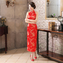 Chinese Traditional Cheongsam Womens Long Dress Silk Satin Sleeveless Ball Gown Size S to 3XL