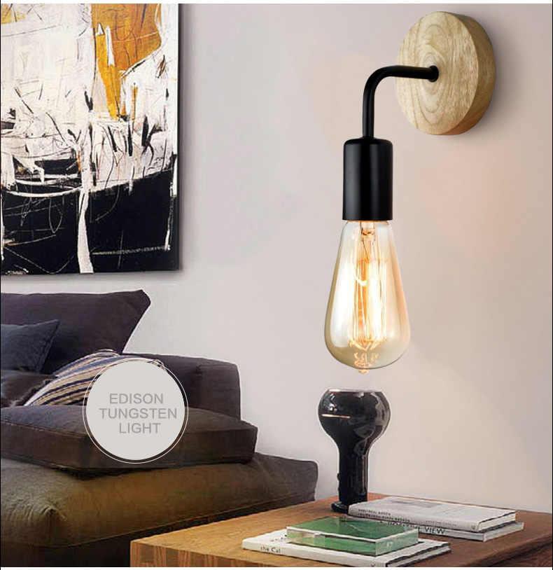 E27 90-260V Wood Wall Lamp Modern Nordic Wooden Sconce For Home Light Fixture Vintage Retro Wall Light Decor Edison Lamp