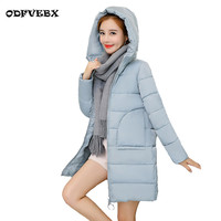 2018new cotton jackets female wild hooded medium long down cotton jacket ladies loose thicken student coat winter women clothing