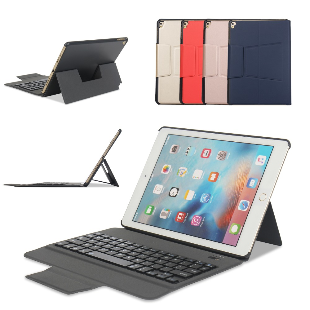 Ultra Lightweight Stand Portfolio Cover Case for iPad 9.7 2017 Bluetooth Keyboard for Apple iPad Pro 9.7 / air / air 2 Tablet protective silicone keyboard cover for apple macbook pro air purple