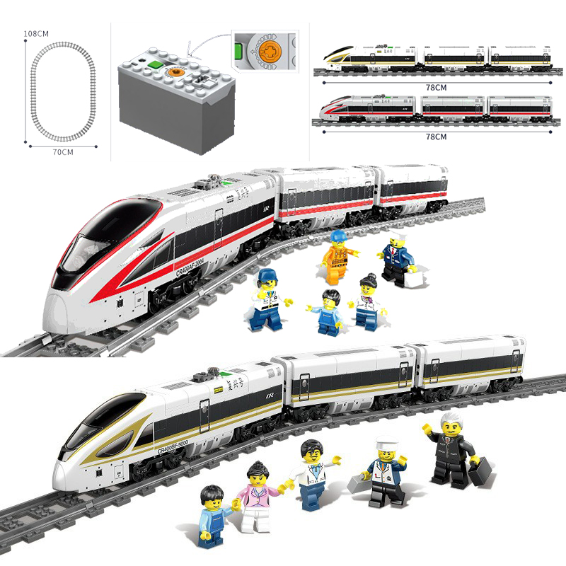 KAZI 98228 98229 GBL Battery Powered Electric Train High speed Rail DIY Building Blocks Bricks Gift