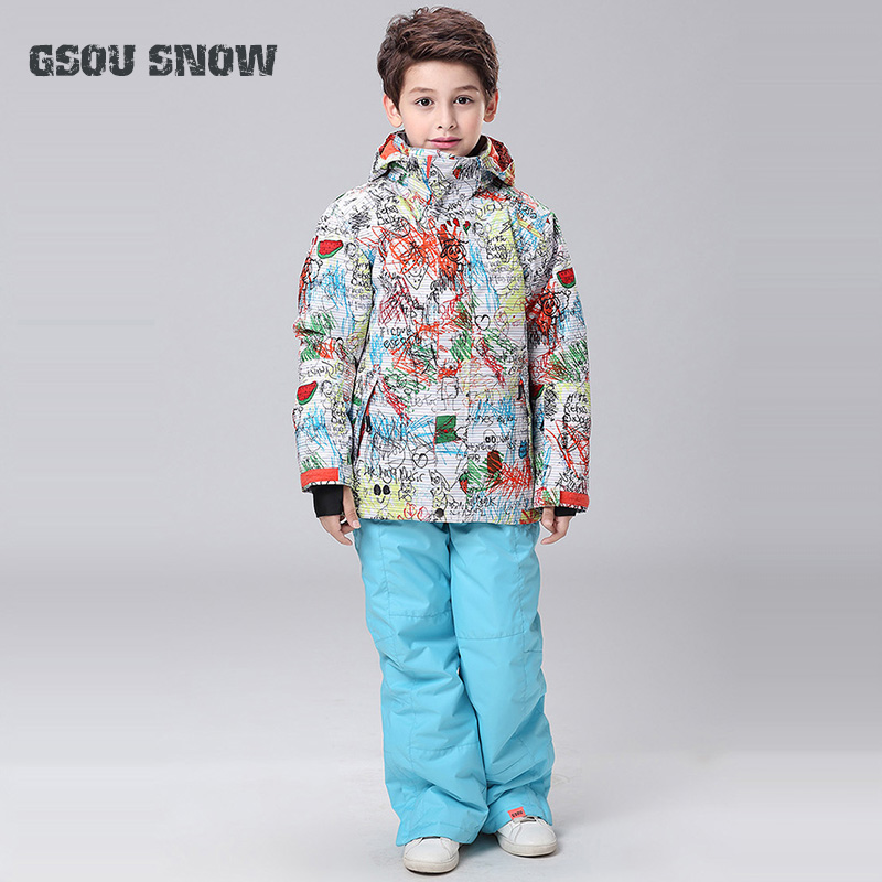 5fd359646 New Gsou Snow Boys Ski Jacket+Pants Outdoor Sport Wear Skiing ...