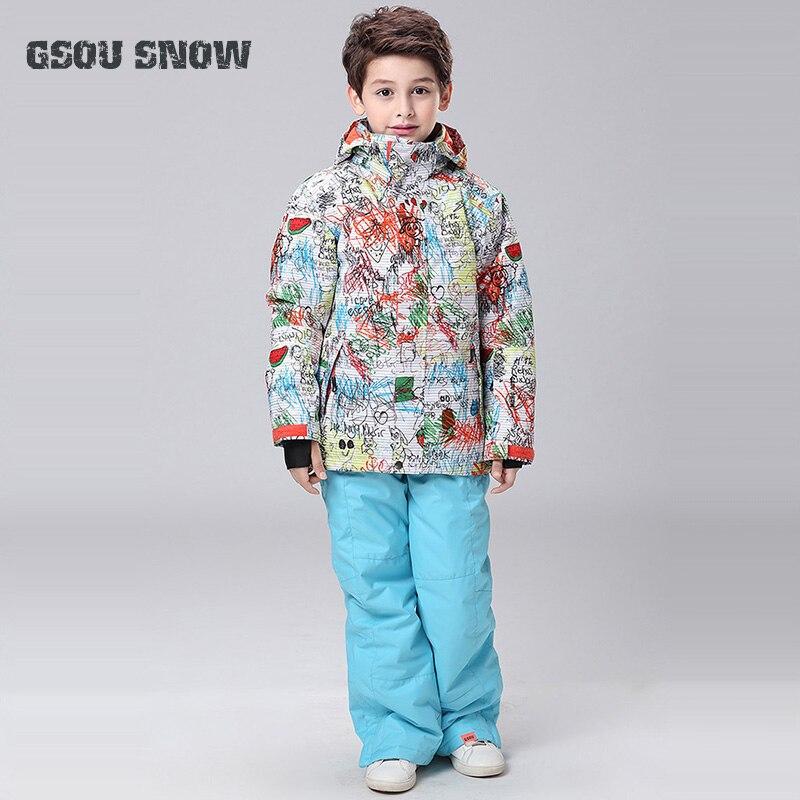Nouveau Gsou Snow Boys veste de Ski + pantalon Sport de plein air porter Ski Snowboard enfants épaissir thermique enfants costume extérieur Sport porter