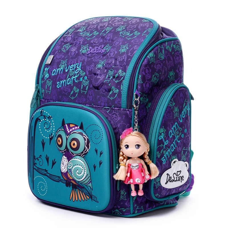Delune ортопедический рюкзак для девочек школьные сумки 3D милая сова медведь цветочный узор Водонепроницаемый детей школьный Mochila Infantil