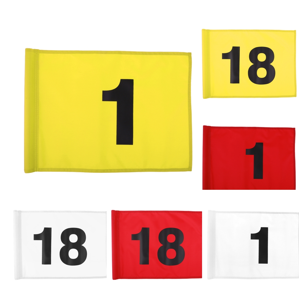 Durable Nylon Golf Flag Professional Golf Practice Training Putting Green Flag White With Number 1 Or 18 - Red/Yellow/White