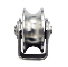 цены 2PCS/LOT  Wheel D:48mm  (2inch)304 Stainless Steel U Groove Track Pulley Wheel Bearing Rail Caster Lifting