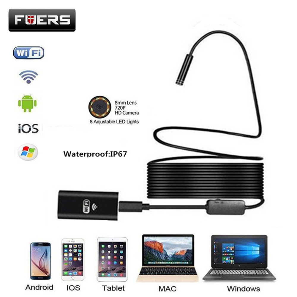 Fuers HD 720P Wifi Endoscope Camera 8mm Lens Soft Wire 1M 2M 8 LED Waterproof Mini Inspection Camera for Android IOSFuers HD 720P Wifi Endoscope Camera 8mm Lens Soft Wire 1M 2M 8 LED Waterproof Mini Inspection Camera for Android IOS